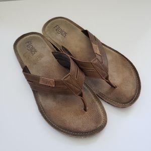 Flojos Brown Leather Flip Flops Size 13